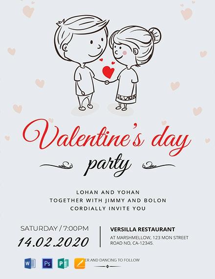 Cartoon Valentine Invitation Card