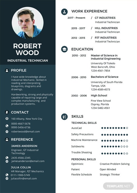 Free Electronic Technician Resume And Cv Template In Psd