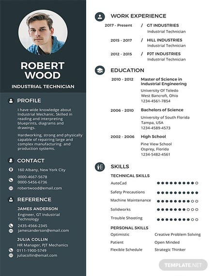Free Technician Resume Template