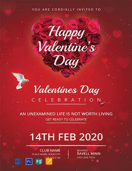 Red Valentine's Day Invitation Card