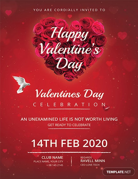 Red Valentine's Day Invitation Card
