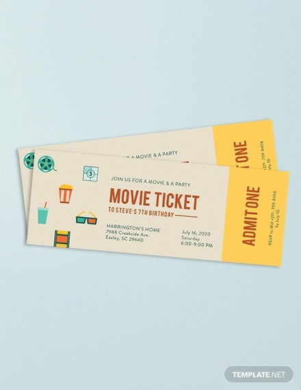 movie ticket invitation template in adobe photoshop illustrator