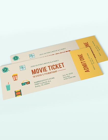 Sample Movie Ticket Invitation