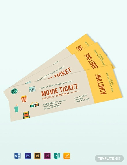 Vintage Movie Ticket Invitation Template