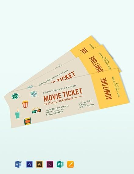 Vintage Movie Ticket Invitation Template