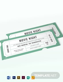Raffle Movie Ticket Template