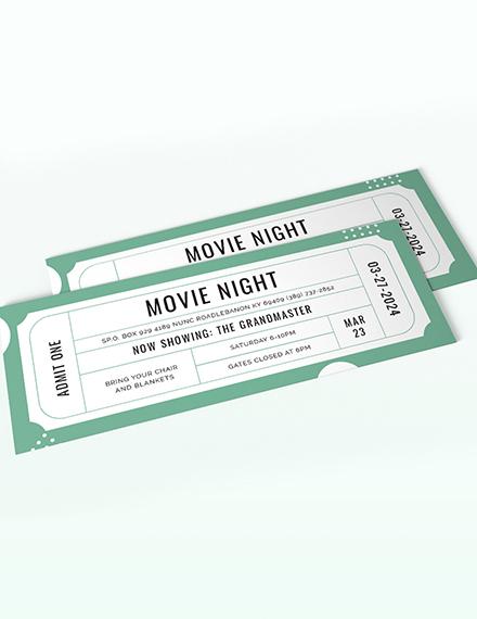 Raffle Movie Ticket Template
