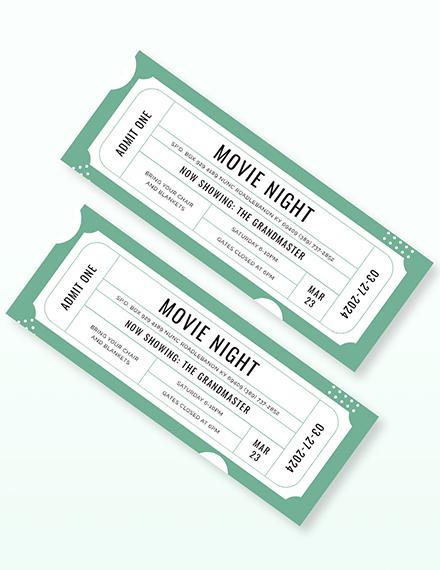 Sample Raffle Movie Ticket