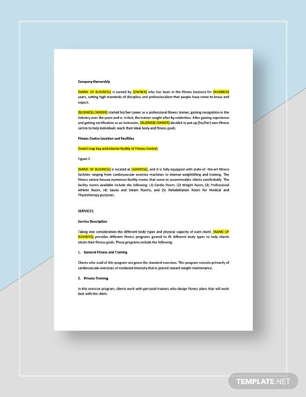 Fitness Center Business Plan Download