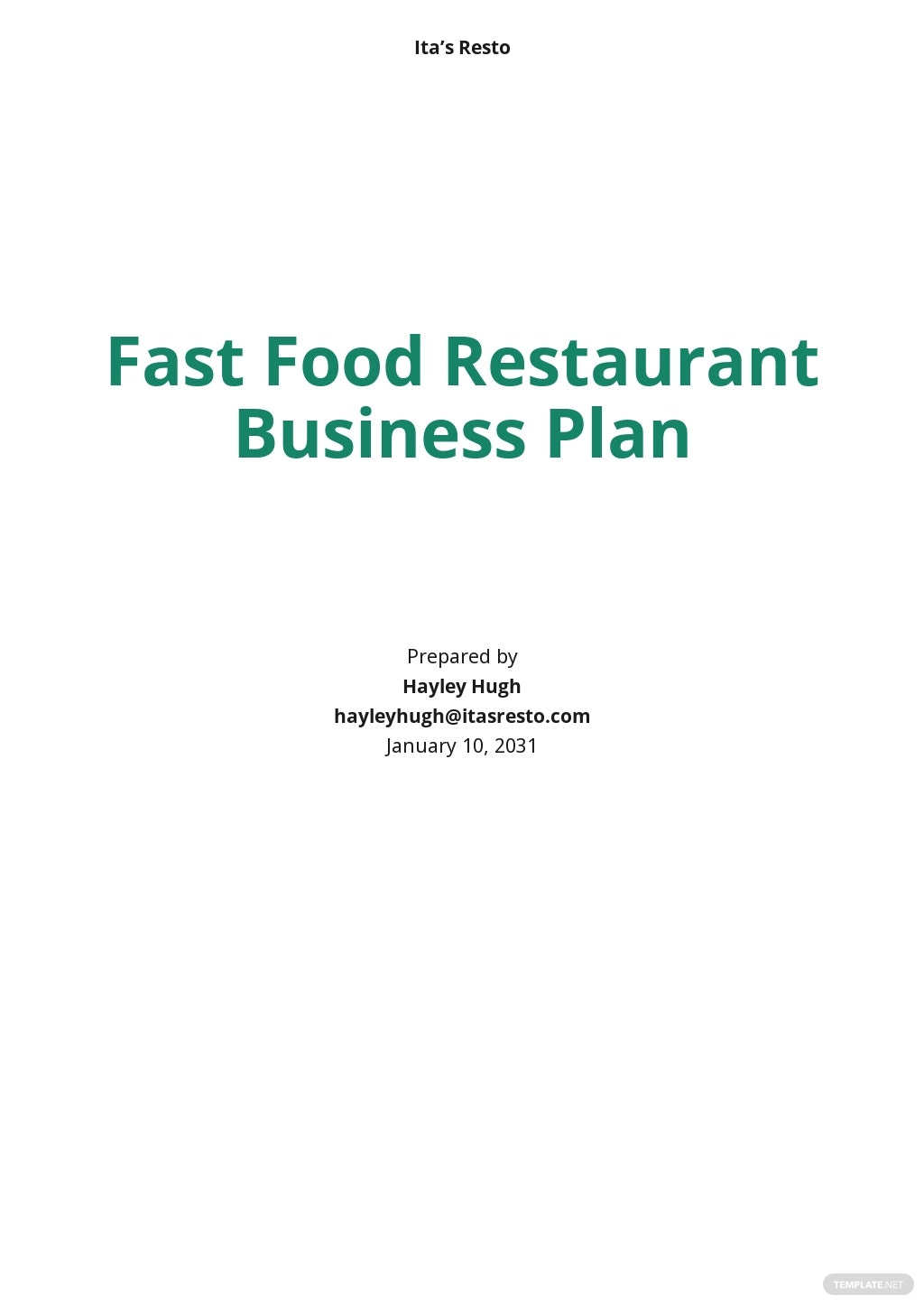 Fast Food Restaurant Business Plan Template