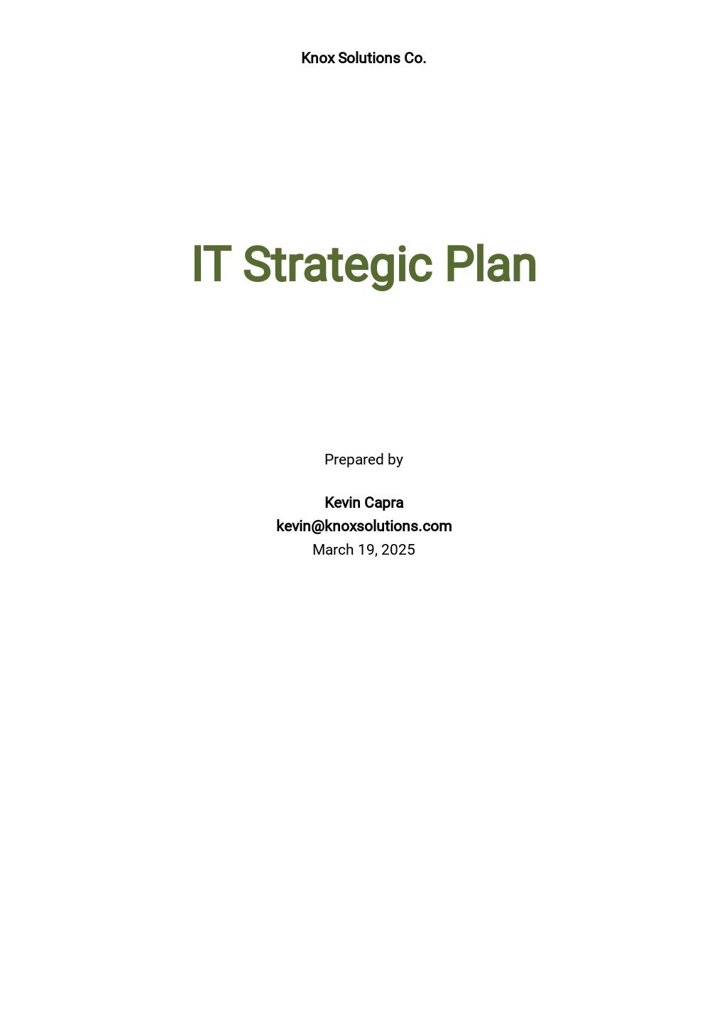 IT Strategic Plan Template