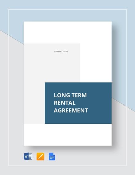Long Term Rental Agreement Template