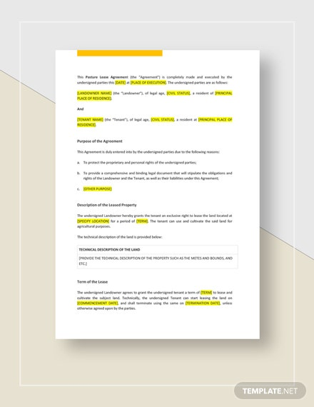 Pasture Lease Agreement Template Word Doc Google Docs