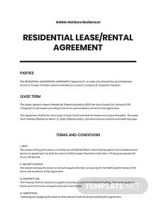 Rental Agreement or Residential Lease Template