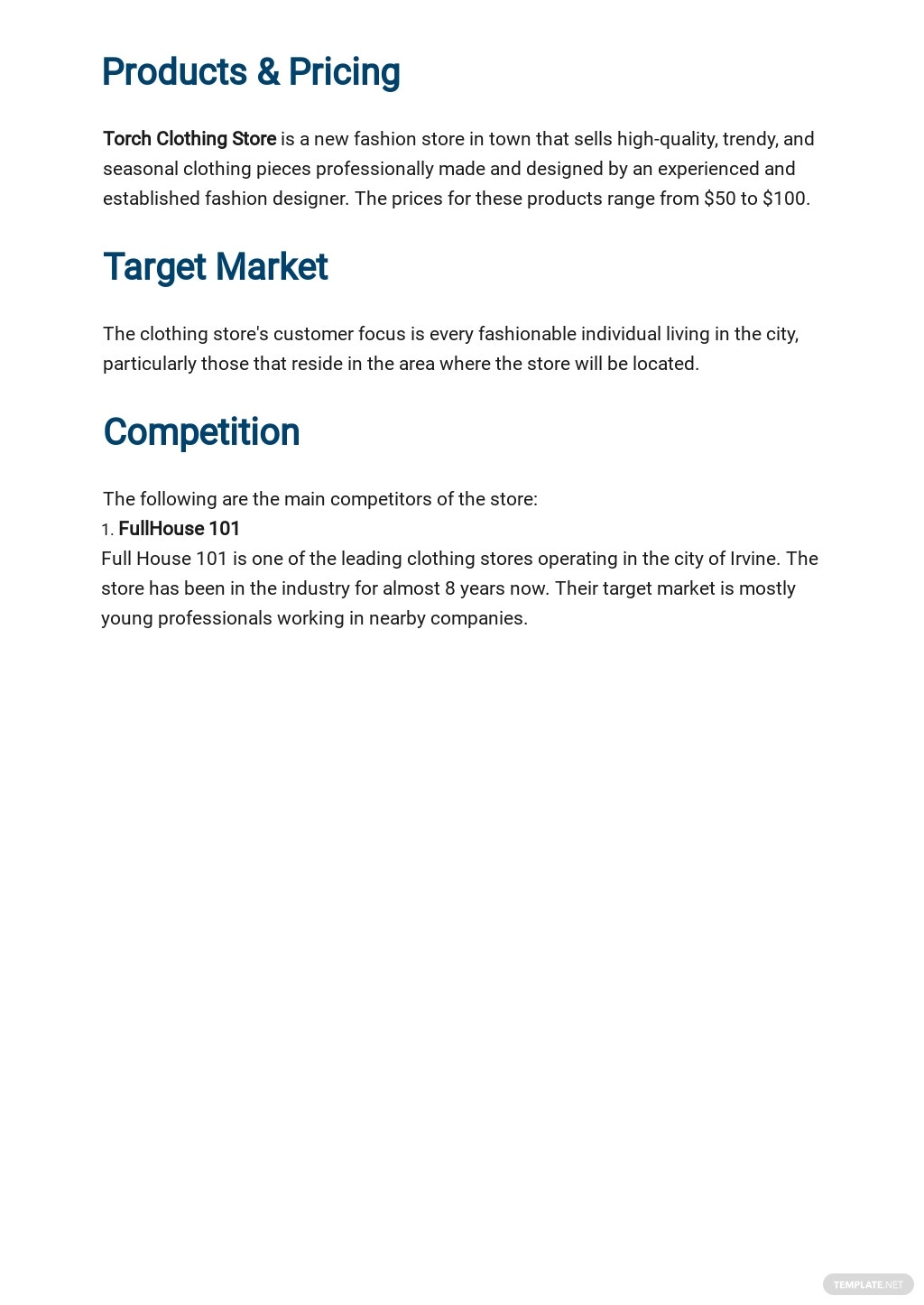 Clothing Store Business Plan Template 2.jpe