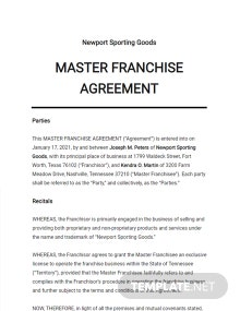 Master Franchise Agreement Template