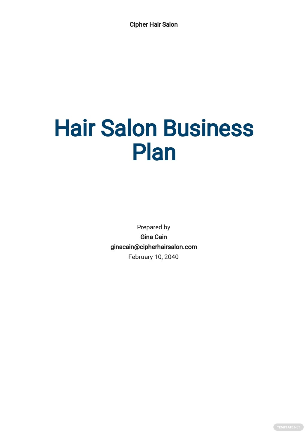 Hair Salon Business Plan Template