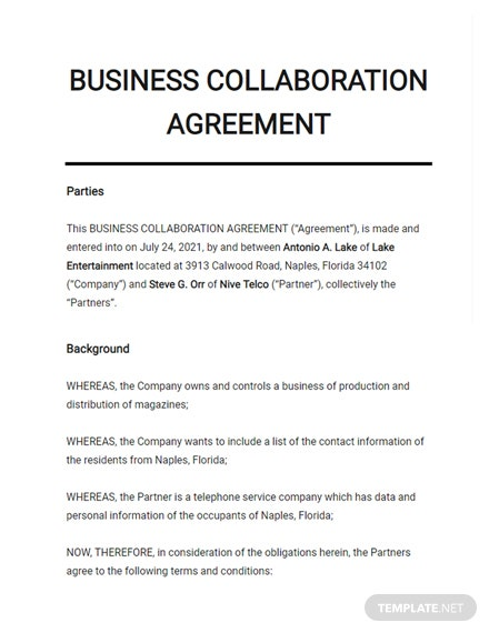 Business Collaboration Agreement