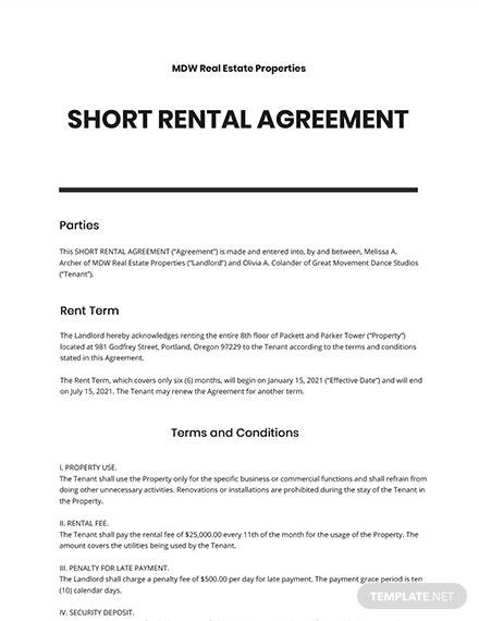 Short Rental Agreement Template
