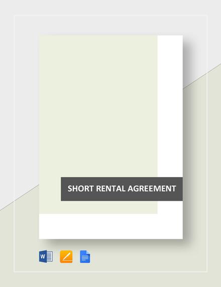 Short Rental Agreement Template
