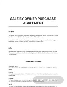 Sale by Owner Purchase Agreement Template
