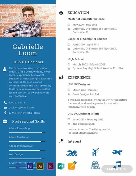 Free Ux Designer Resume Template Word Doc Psd Indesign