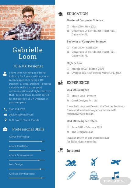 free professional resume and cv template  download 160