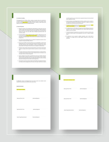 Business Management Agreement Template Word Google Docs