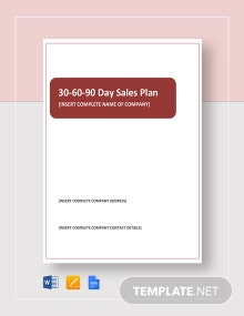 30-60-90 Day Sales Plan Template
