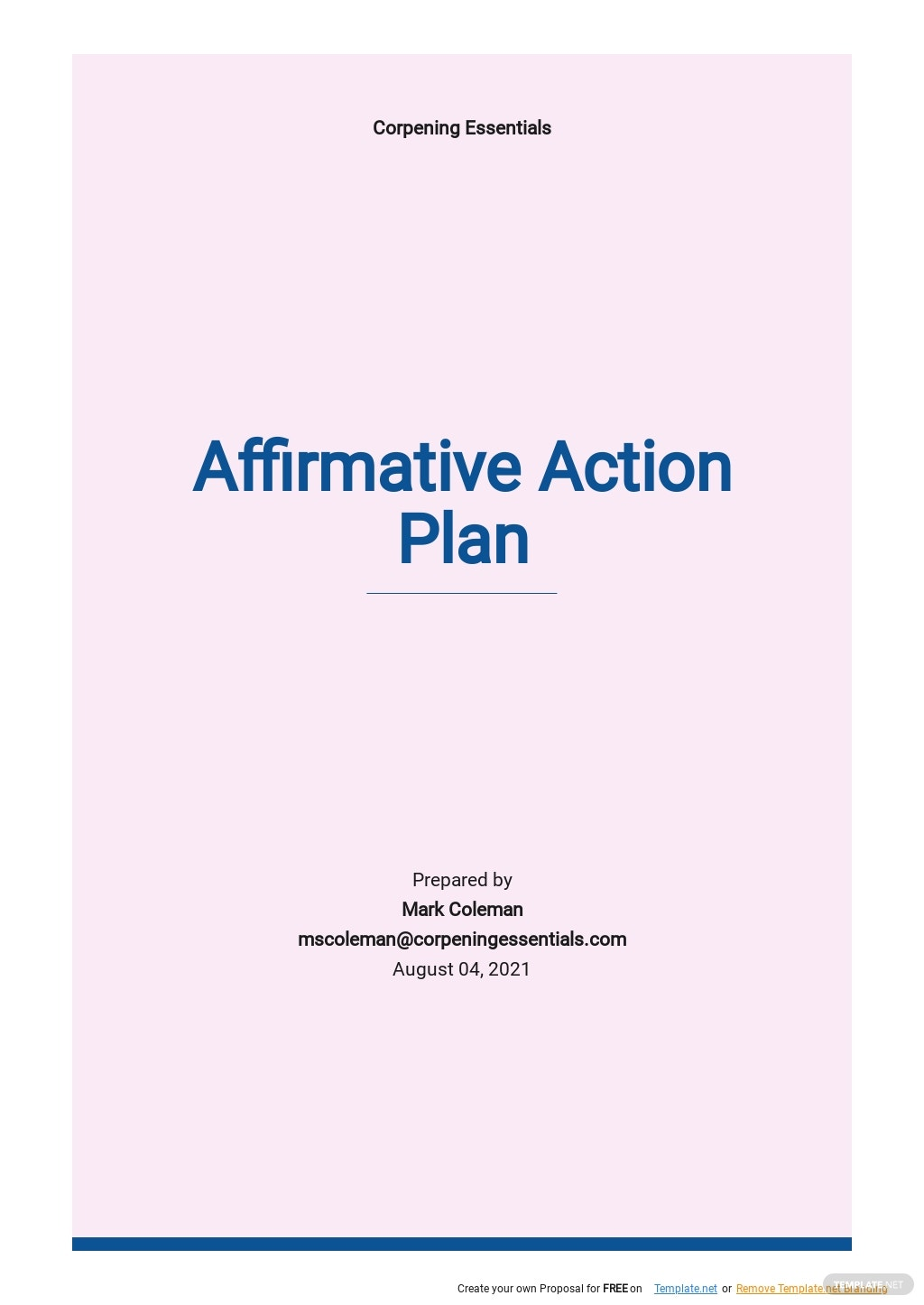 Affirmative Action Plan Template