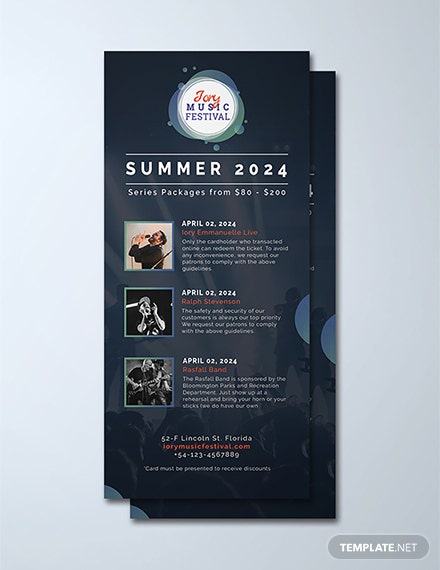 Free Music Festival Rack Card Template