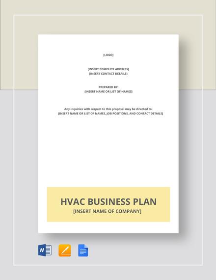 HVAC Business Plan Template