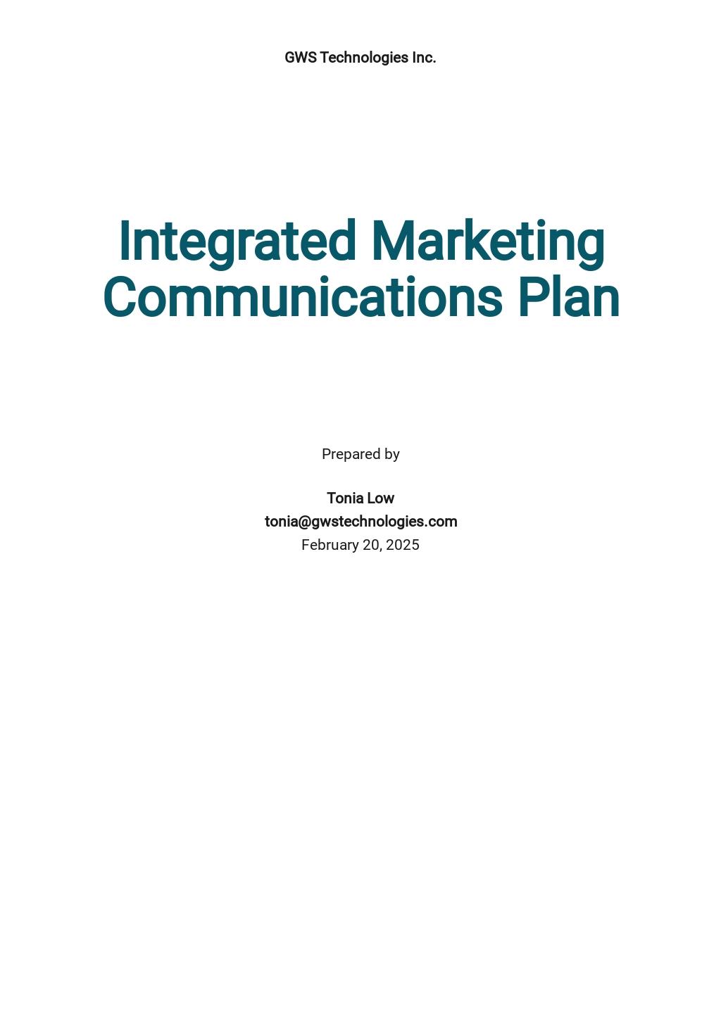 Integrated Marketing Communications Plan Template.jpe