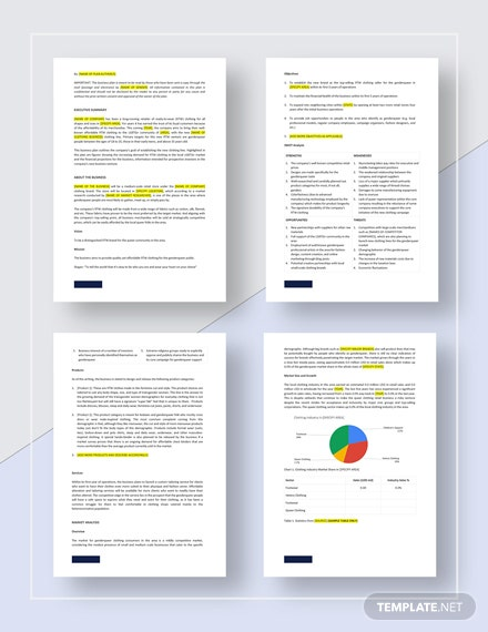 Clothing Business Plan Template