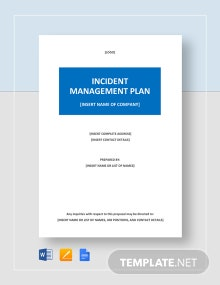 Incident Management Plan Template