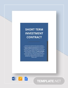 Short Term Investment Contract Template