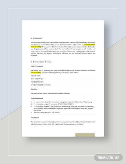 Business Execution Plan Template