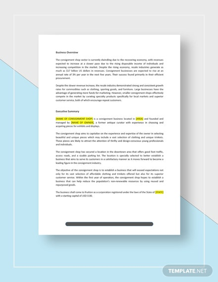 Consignment Shop Business Plan Download