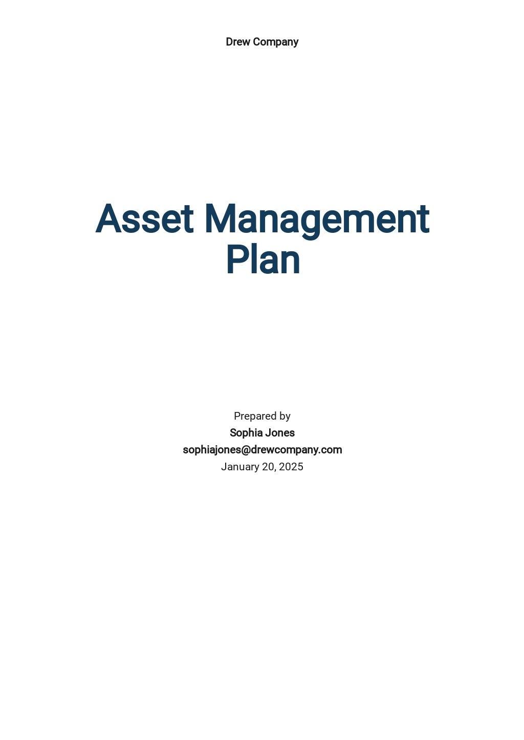 Asset Management Plan Template