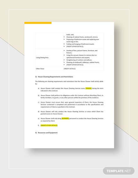 House Cleaning Contract Template Word Google Docs