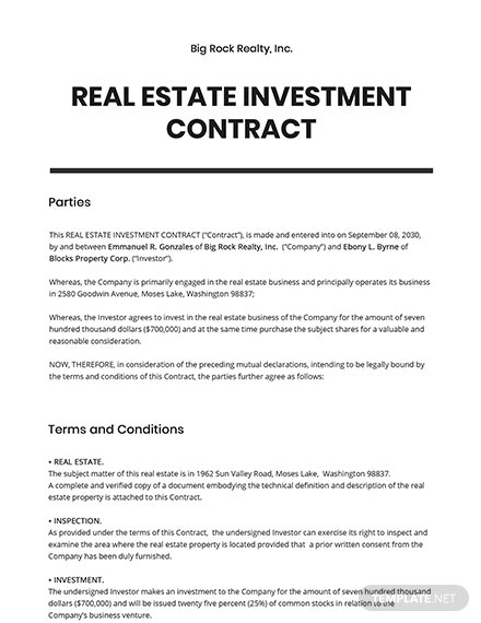 Real Estate Investment Contract