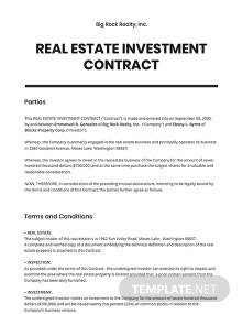 Real Estate Investment Contract Template