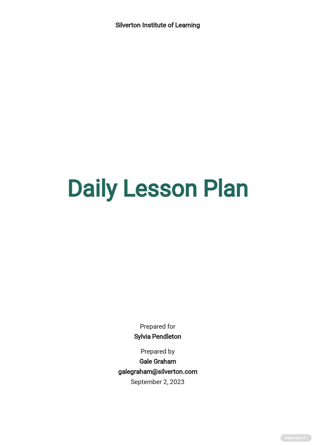 Sample Daily Lesson Plan Template