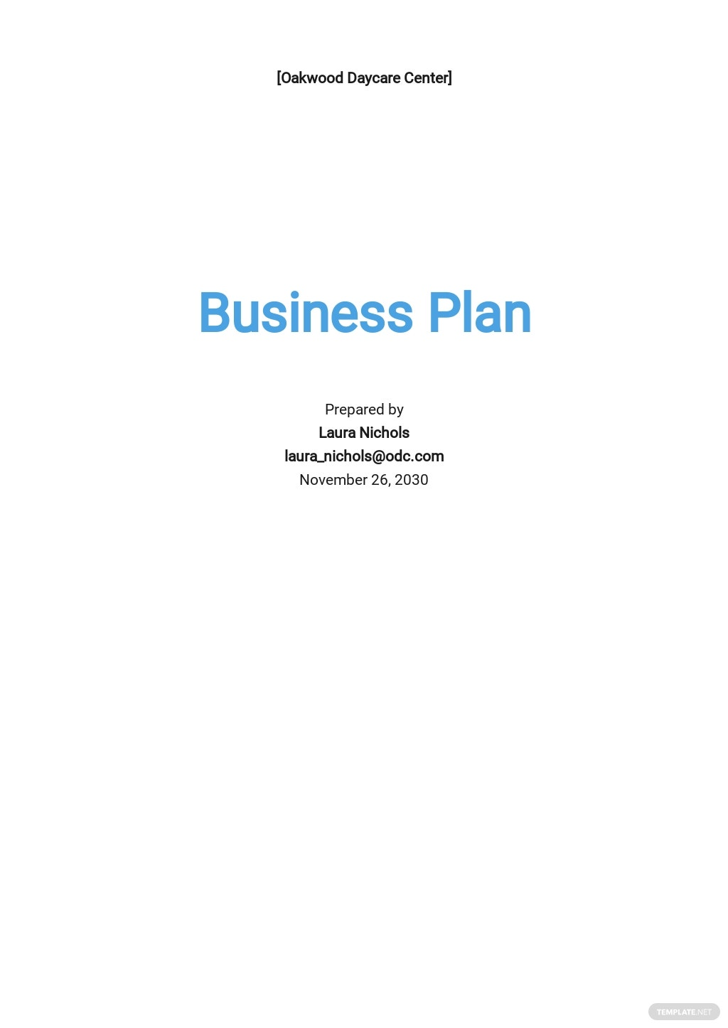 Child Care Business Plan Template