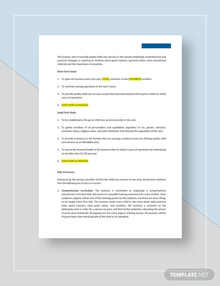 Child Care Business Plan Download