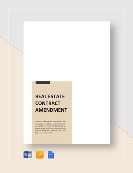 Real Estate Contract Amendment Template