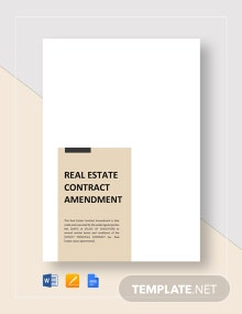 Real Estate Contract Amendment Template