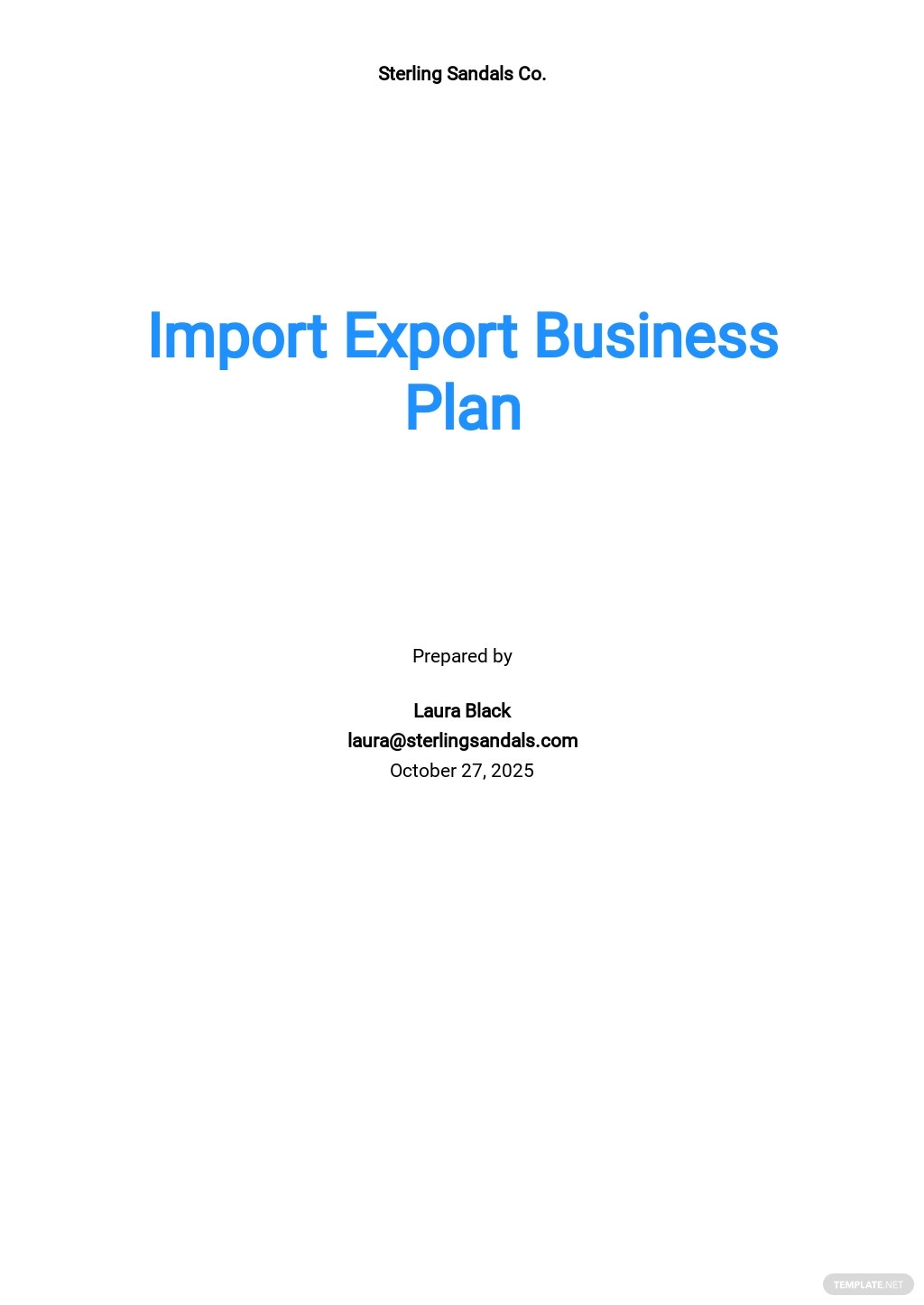 Import Export Business Plan Template