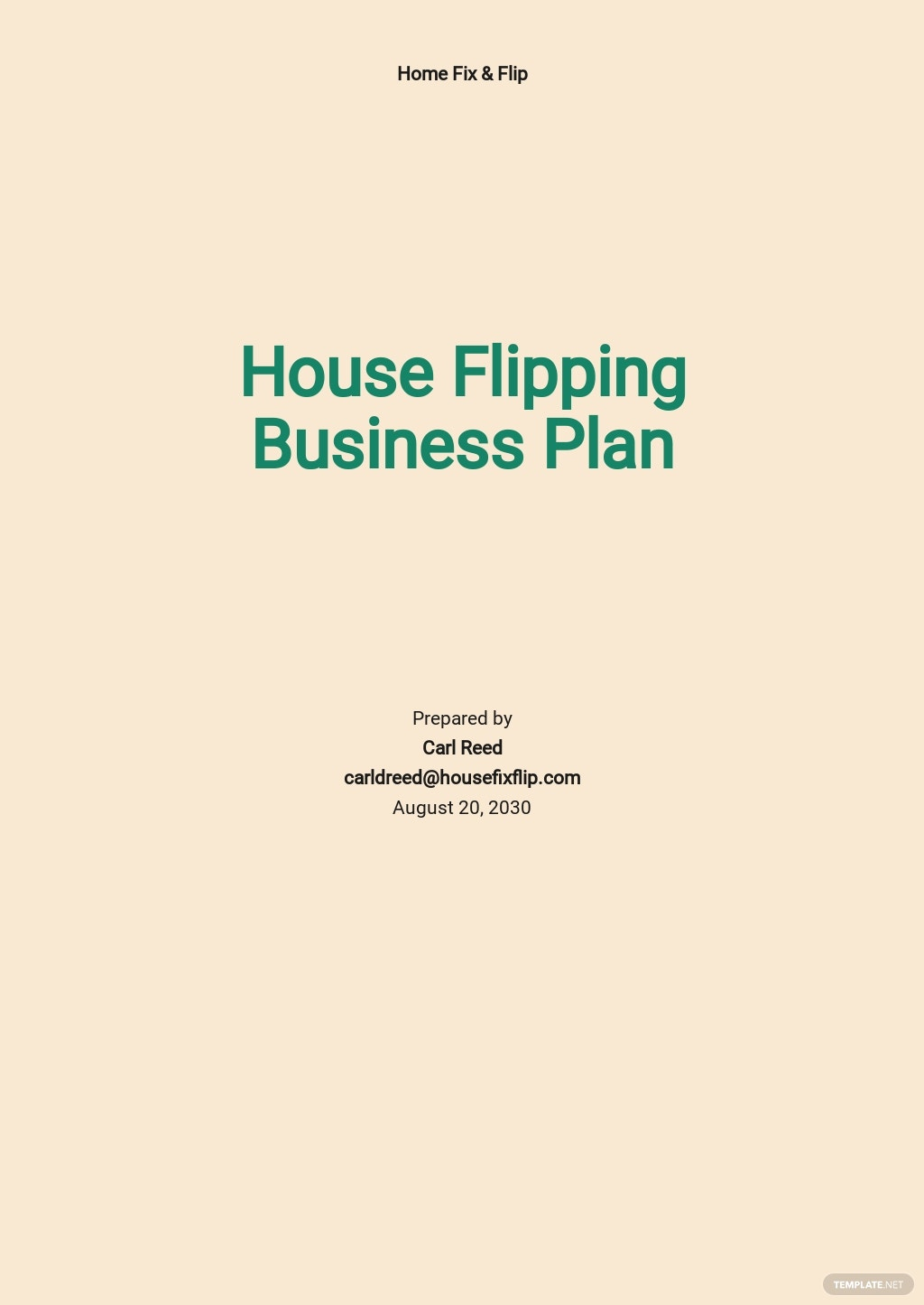 House Flipping Business Plan Template