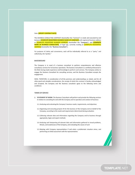 Business Consulting Contract Template